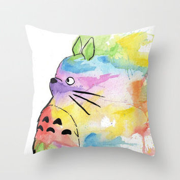 My Rainbow Totoro Throw Pillow by Alisha Ann | Society6