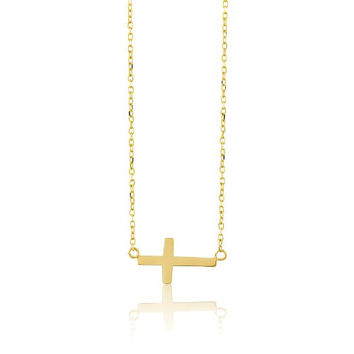 """Sterling Silver 16"""" + 2 """" Extension Gold-Plated Small Sideways Cross Necklace"""