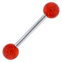 Ruby Red GLITTER Barbell Tongue Ring