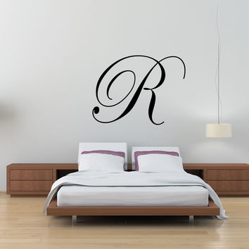 Monogram single letter initial fancy cursive wall decal