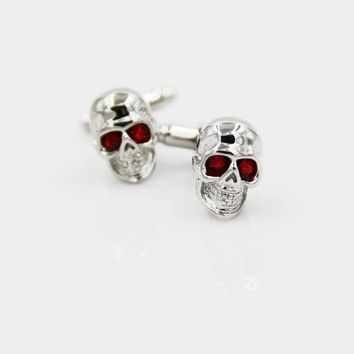 Crystal Eyes Skull Skeleton Head Marvel superhero Cufflinks for mens free Shipping
