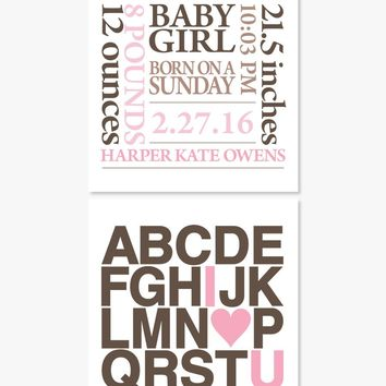 Art Prints: Baby Stats + I Love You Alphabet - Set of 2
