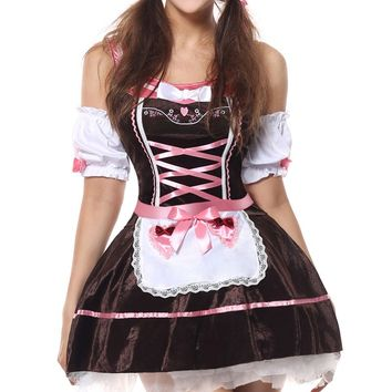 MOONIGHT Sexy German Oktoberfest Halloween Costume Adult Wench Beer Girl Clubwear Fantasy Bavaria Costume Fancy Dress