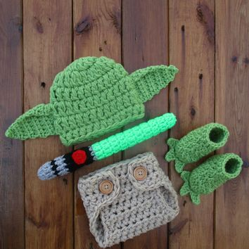 Star Wars Yoda Set Crochet Newborn Photo Prop