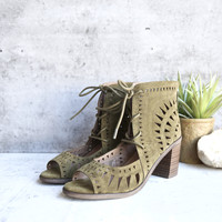 'leilani' vegan suede cutout lace up chunky mule heel - olive