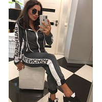 BALENCIAGA Women Long Sleeve zipper Jacket Pants Two-Piece