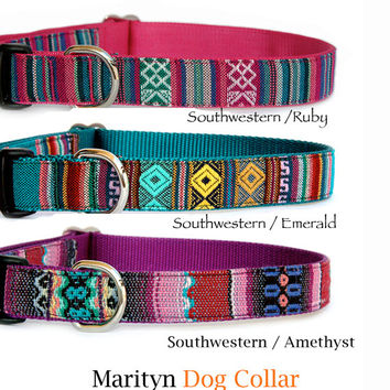 Personalized dog collar Engraved ID buckle pet collar Southwest Aztec Navajo embroidery style purple green pink cute girl dog boy dog collar
