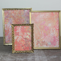 Collection of three vintage gold metal 8x10 and 5x7 picture frames - Ornate picture frames, gold decor, wedding frames, table numbers