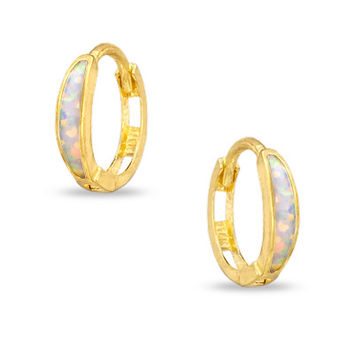 Opal Huggie Earrings in 14K Gold - - View All - PAGODA.COM