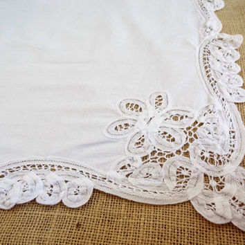 Table topper square tablecloth vintage white shabby chic boho