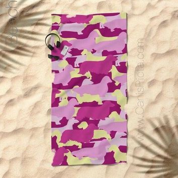 Pink Camo Dachshund Towel Bath Beach Terry Hand Bathroom Decor Gift Unique For Home Pattern Doxie Cream Magenta Fuchsia Wire Long Smooth Dog