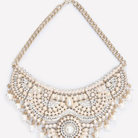 bebe Womens Scrolled Bib Necklace Ivory Gold