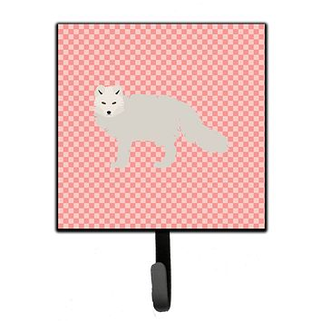 White Arctic Fox Pink Check Leash or Key Holder