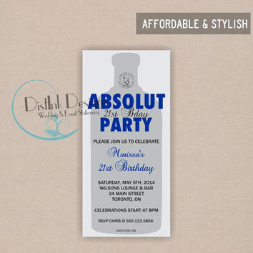 Vodka Birthday Party Invitation - Digital File, Customize the Wording and Colors