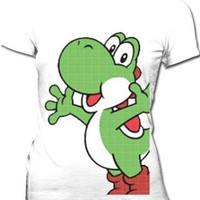 Nintendo Pop Yoshi Sheer White Juniors T-shirt