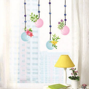 Hanging Bottle Flower Bonsai Wall Sticker Decal Vinyl Art Home Decor Removeable