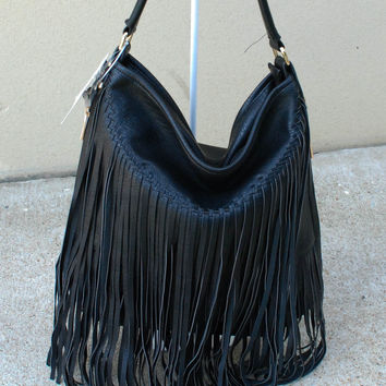 Long Fringed Bag - Black