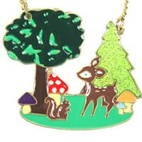 Cartoon Deer Necklace Green Glitter Pine Tree Pendant NL12 Retro Toadstool Baby Fawn