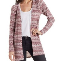 Aztec Printed Ribbed Cardigan by Charlotte Russe