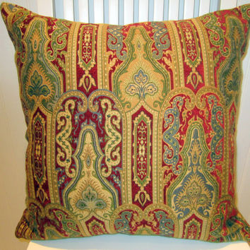 Beautiful Decorative Pillow Cover--Classic, Jewel-toned Chenille Throw Pillow Cover 20 x 20--Ruby, Gold, Green, Blue