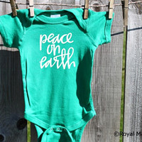 Peace on Earth Christmas Baby Bodysuit
