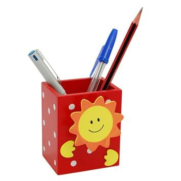Affordable Smile Sun Red Wooden Pencil Pen Holder with Memo Clip