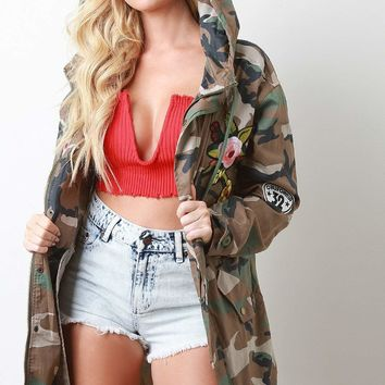 Floral Patch Camouflage Hooded Drawstring Jacket