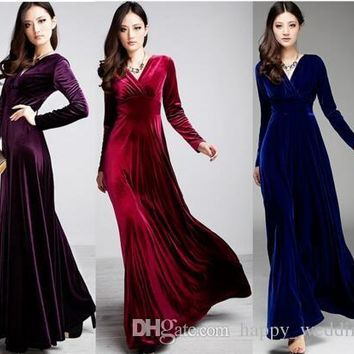 Long Dress Plus Size S~3XL Women Winter Dresses Long Sleeve V Neck Maxi Velour Women Sexy Party Dress