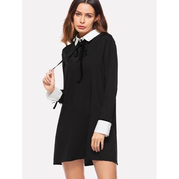 Contrast Collar And Cuff Knot Detail Dress