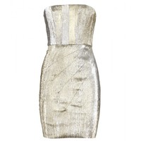 Alice + Olivia - Bown Metallic Dress With Pleats