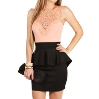 Peach/Black Crochet Peplum Dress