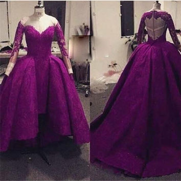 Ball Gown High Low Arabic Muslim Plus Size Formal Prom dresses Real Image Purple Vintage Lace Evening gowns Long Sleeve 2017