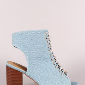 Denim Chain Accent Corset Lace-Up Peep Toe Chunky Heel