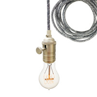 Dark Sweater Cloth Cord & Nickel Bare Bulb Pendant Light