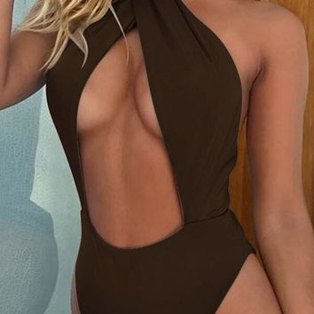Solid Color Lace Up One Piece Beachwear