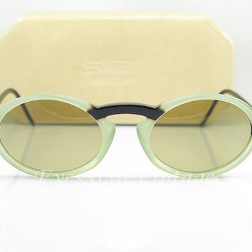 Silhouette , 1980s , Vintage Sunglasses , Green And Black , Keyhole Nose Bridge , Oval Design , Original Case , Guc