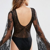ASOS Raven Lace Flared Sleeve Body at asos.com