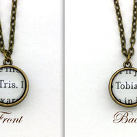 Divergent, 'Tris' and 'Tobias', Double Sided Pendant Necklace, Book Page Necklace