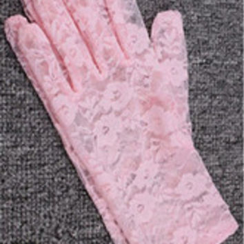 Lace Floral Crocheted Sun Protective Short Knitted Gloves Pink