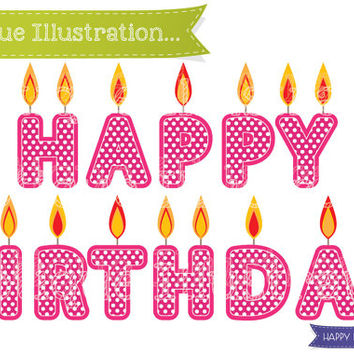 Happy Birthday Candles Clipart Pink Clip Art