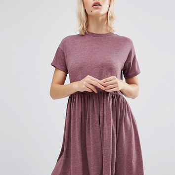 ASOS Smock Mini Dress With Crew Neck