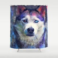 Dog husky #dog #husky #animals Shower Curtain by jbjart