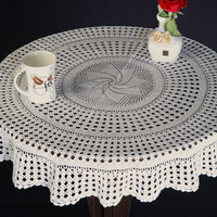 Oroshi  CROCHET TABLECLOTH - HANDMADE- Table Decor- Kitchen Decor, Wedding and Home Decor, Bridal gifts, Wedding Gifts.