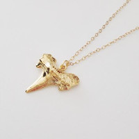 Gold Shark Tooth Necklace- 24k Gold Dipped Shark Tooth on 14k Gold Chain