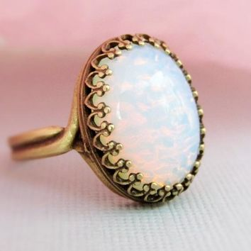 White Opal Ring, October Birthstone Jewelry, Gift For Women, Adjustable Glass Opal Ring, White Opal, October Birthstone, Opal Jewelry
