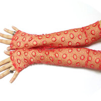 Rantaria // Free Shipping, Red Long Gloves, Dance costumes accessories, Gloves for all occasions, Fingerless Gloves, Lolita Sexy gloves