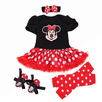 Christmas 2018 Newborn Minnie Dress 4pcs/set Baby Girls Clothes Toddler Girl Clothing Set Infant Minnie Mouse Costume Xmas Gifts