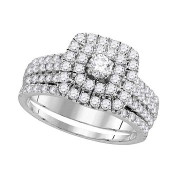 14kt White Gold Women's Round Diamond Double Square Halo Bridal Wedding Engagement Ring Band Set 1-3/4 Cttw - FREE Shipping (US/CAN)