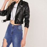 Missguided - Petite Studded Faux Leather Biker Jacket Black