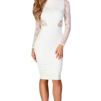 Kim Ivory White High Neck Long Sleeve Lace Cut Out Midi Dress